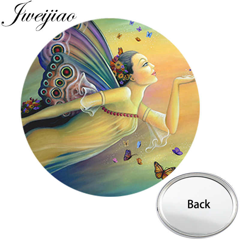 39a4bed68eb0 JWEIJIAO Butterfly Fairy Women Mini One Side Flat Pocket Mirror Economical  Compact Portable Cheap Makeup Vanity Hand Mirrors