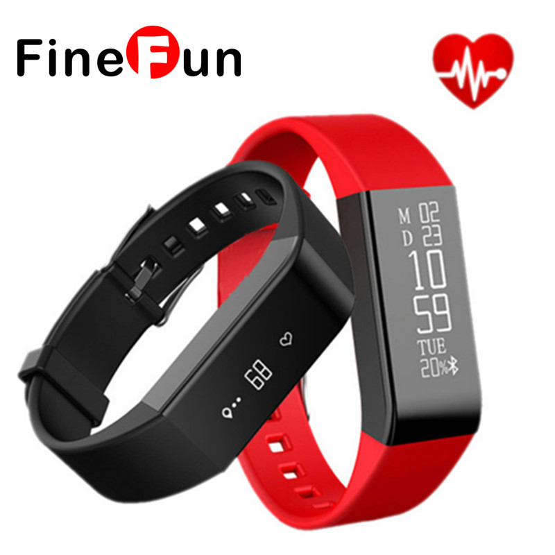FineFun 2016 HOT – A6 Smart Watch Strap Heart Rate Monitor Fitness Tracking Sleep IP67 Waterproof Wristband For IOS Android