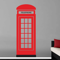 European Telephone Booth Vinyl Wall Decal Creative Telephone Booth Lettering Mural Art Wall StickerBedroom Home Decoration