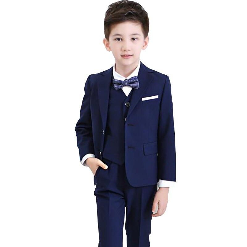 2019 nouveau garçon Costumes enfants garçons Costumes formels Blazers ensembles 4 pièces (manteau + pantalon + chemise + noeud papillon) enfants Gentleman enfant cérémonie Costumes