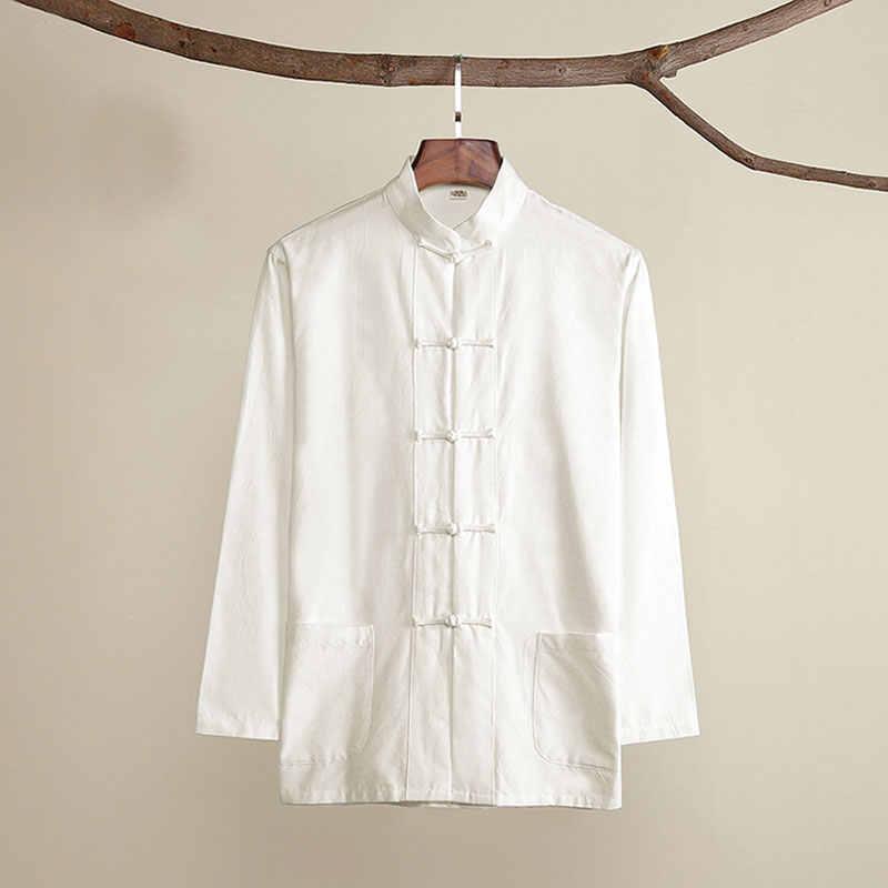 Уморден хлопок Традиционный китайский костюм Тан верхняя одежда для мужчин с длинным рукавом кунг фу Тай Чи Униформа Весна Осень рубашка блузка пальто