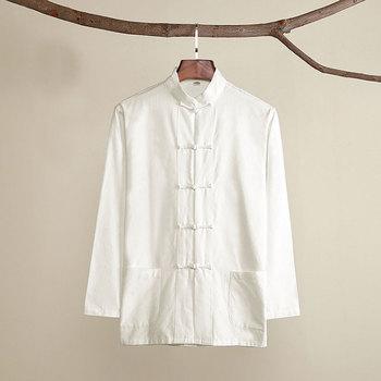 Umorden bawełna tradycyjne chińskie Tang garnitur góry odzież męska z długim rękawem Kung Fu Tai Chi jednolita wiosna jesień bluzka płaszcz tanie i dobre opinie Topy DQP46 COTTON Suknem
