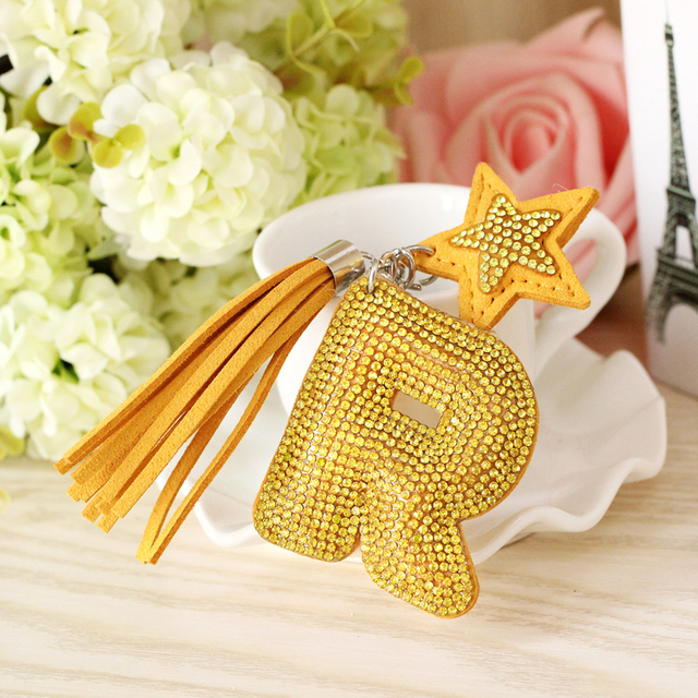 Cute Letter Keychain leather key chain women Key Ring Gifts for Women  Charms Car Bag Accessories Key Chain 91b6fc0614