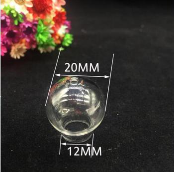 100pcs 20*12mm wholesale empty glass vial bottle glass cover dome globe bubble single hole wishing bottle diy necklace pendants