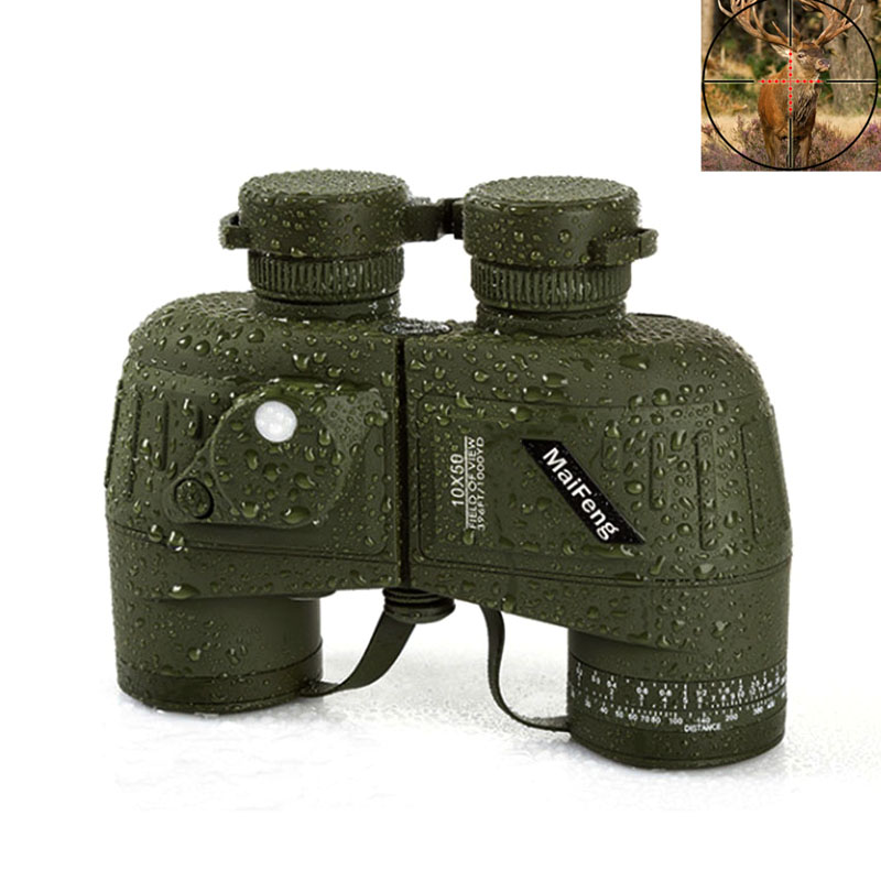 цена 10X50 HD Waterproof Binoculars Optics Night Vision telescopio Rangefinder Compass Mils Military Tactical Hunting Telescope
