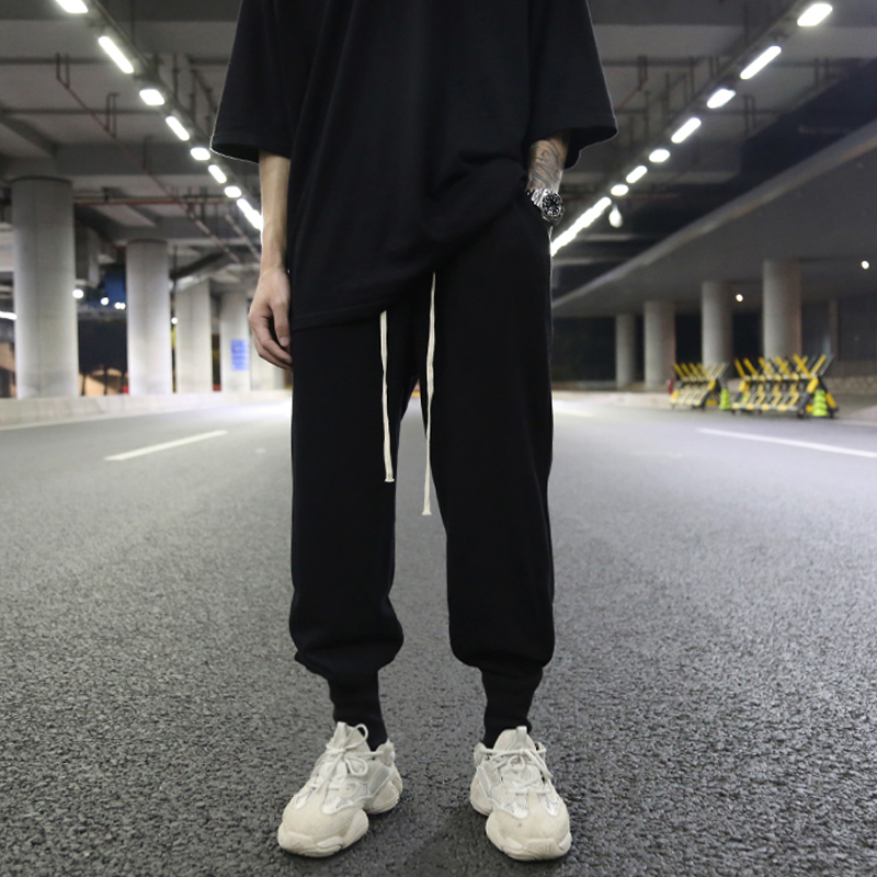 Sombre Haute Rue Lâche Tissu Éponge Côtes Faisceau Pantalon Pantalon décontracté Coton Pantalon Hip Hop Pantalon Hommes Streetwear Ropa De Hombre 2018