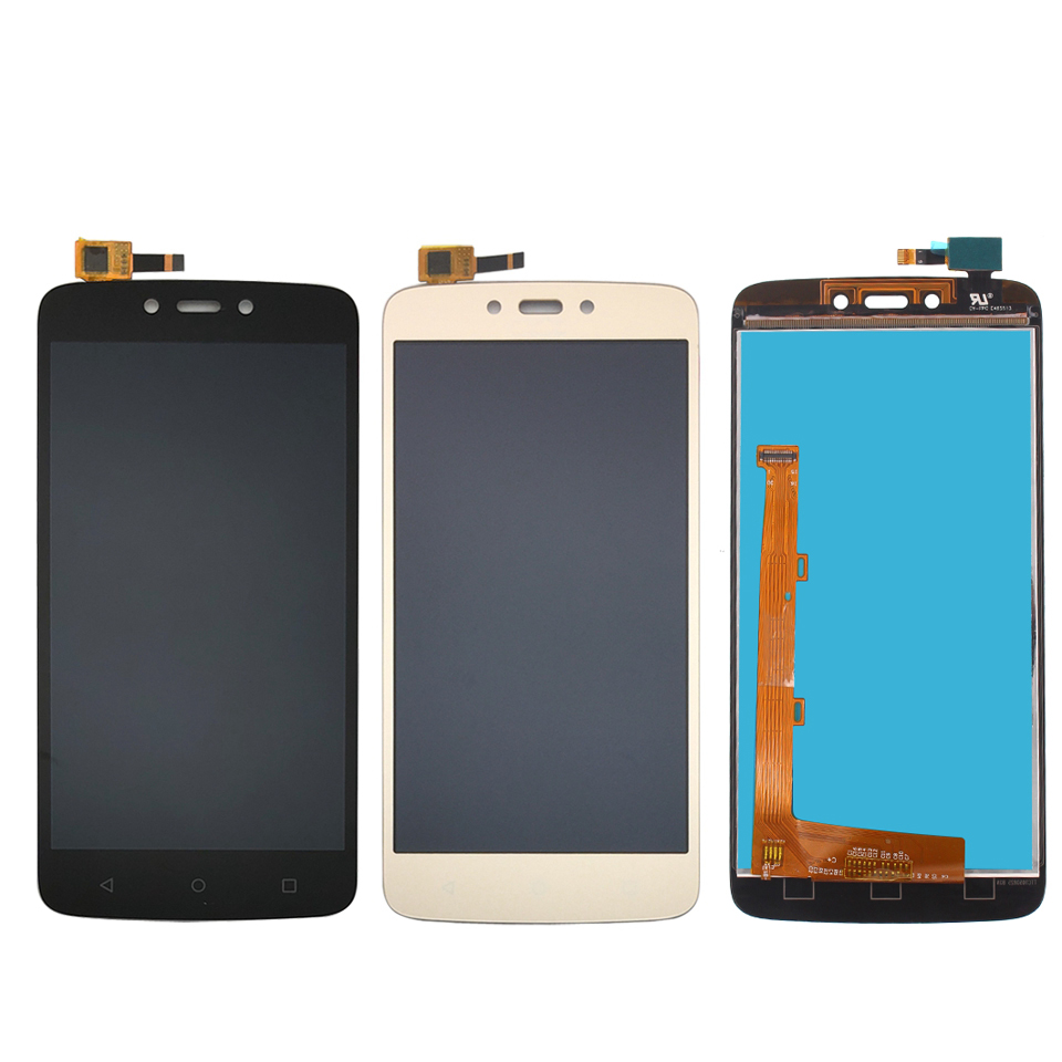 High quality For Motorola Moto C Plus CPlus <font><b>XT1723</b></font> LCD Display Touch Screen Sensor Glass Assembly Black Gold Color image