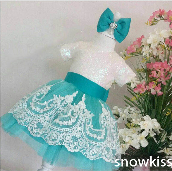 2016 New beautiful Knee-Length White lace sheer flower girl dress with bow sash pageant gowns girls wedding birthday party gowns