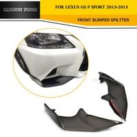 carbon fiber front bumper flaps apron lip Spoiler splitters for Lexus GS F Sport Sedan 4 Door Only 13 15 GS350 Black FRP