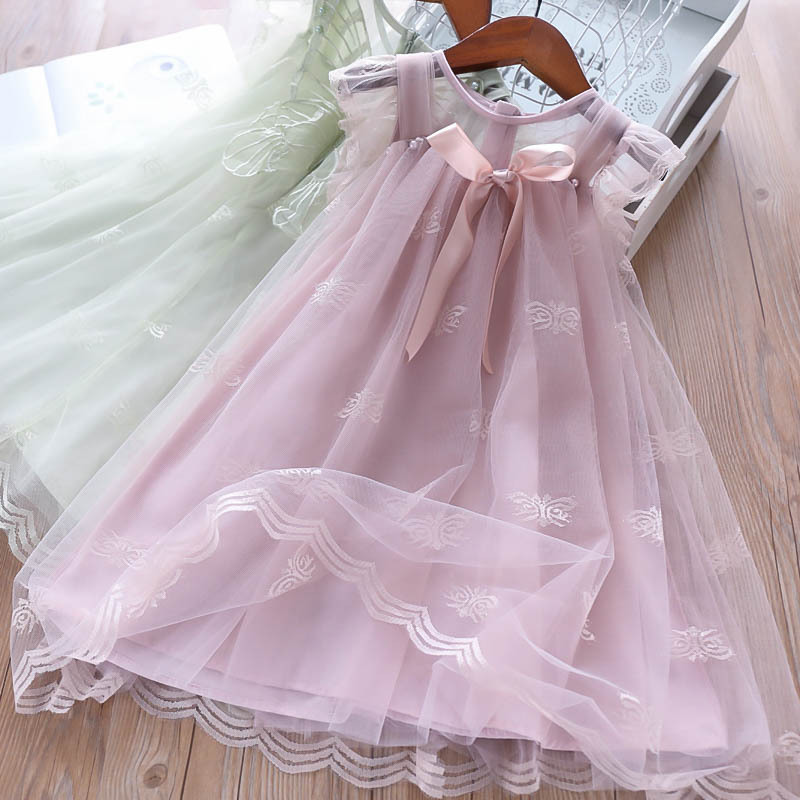 Girls Butterflies Pearls Tulle Bow Lace Kids Clothes Princess Summer Party Western Ins Fashion Lovely Child Dresses
