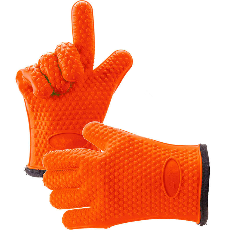 1 Pair Silicone Oven Mitt Glove With Internal Protective Cotton Layer For Grilling 4