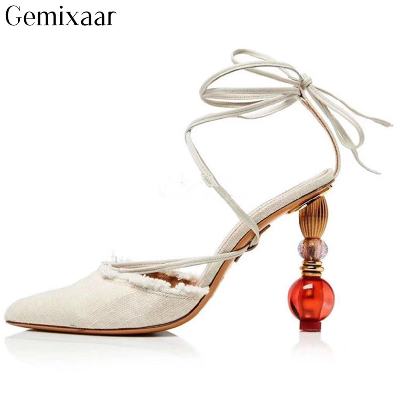 Concise Cane Candy Color Cover Pointy Toe Narrow Cross Lace-up Women Shoes T-show Strange Heels Decor Crystal Sandals WomanConcise Cane Candy Color Cover Pointy Toe Narrow Cross Lace-up Women Shoes T-show Strange Heels Decor Crystal Sandals Woman