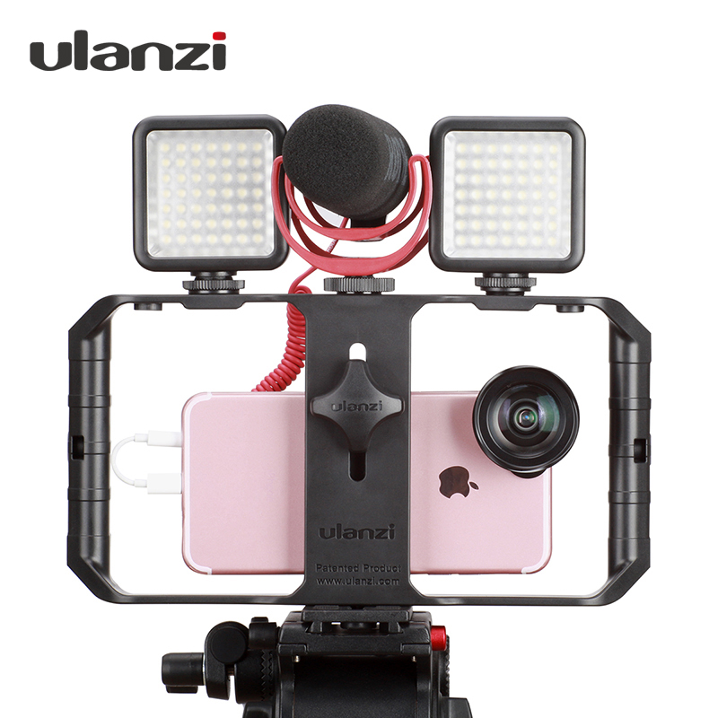 Ulanzi Smartphone Video Rig Case Filmmaking Recording Vlogging Gear for iPhone X iPhone 7 Plus Android Videomaker baseus guards case tpu tpe cover for iphone 7 plus blue