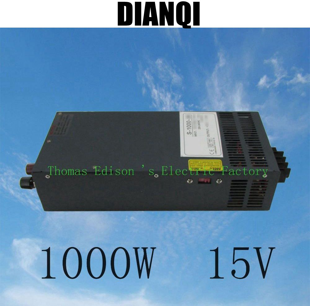 ФОТО 1000W 15V 66A  supply for LED Strip light AC to DC 110V or 220v input Single Output Switching power S-1000-15