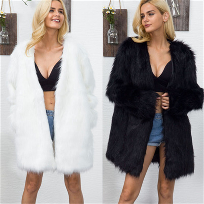 LANSHIFEI Faux Fur Coat Women Long Sleeve Thick Warm Fluffy Jackets Plus Size Coat Winter Women Black Fur Middle Long Coats T8