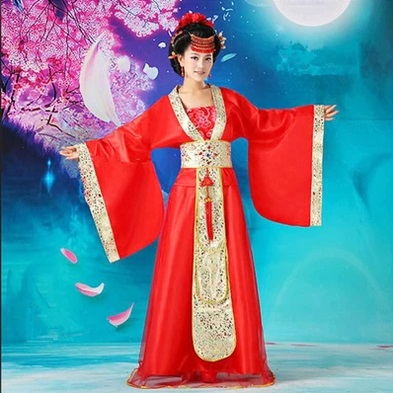 Traditional Chinese red Clothing Costume clothes fairy ...