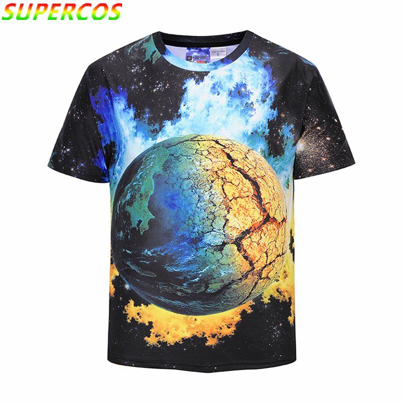 Free Shipping! Newest Good Quality Starry Sky Star Artistic 3D Print Summer Cool Comfortable Short Sleeve T-shirt