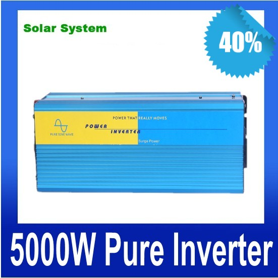 цена на 10000W peak Free Shipping 5000W Power Inverter Pure Sine Wave DC 12V to AC 220V Solar/Wind/Car/Gas Power Generation Converter