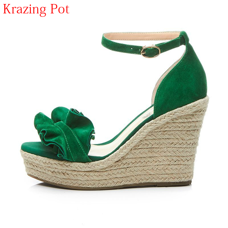 2018 Fashion Superstar Brand Summer Shoes Ankle Strap Platform Peep Toe Women Sandals Runway Wedges High Heels Casual Shoes L65 meotina shoes women sandals summer peep toe ankle strap platform wedges female bordered white blue beige shoes size 34 39fashion