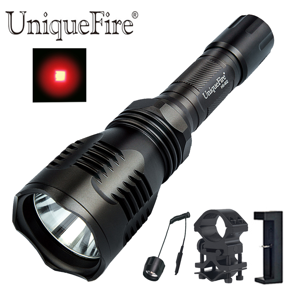 UniqueFire HS-802 lampe de poche à lumière rouge lampe torche de chasse Coyote 300 Lumens avec pressostat à distance, support de baril, chargeur
