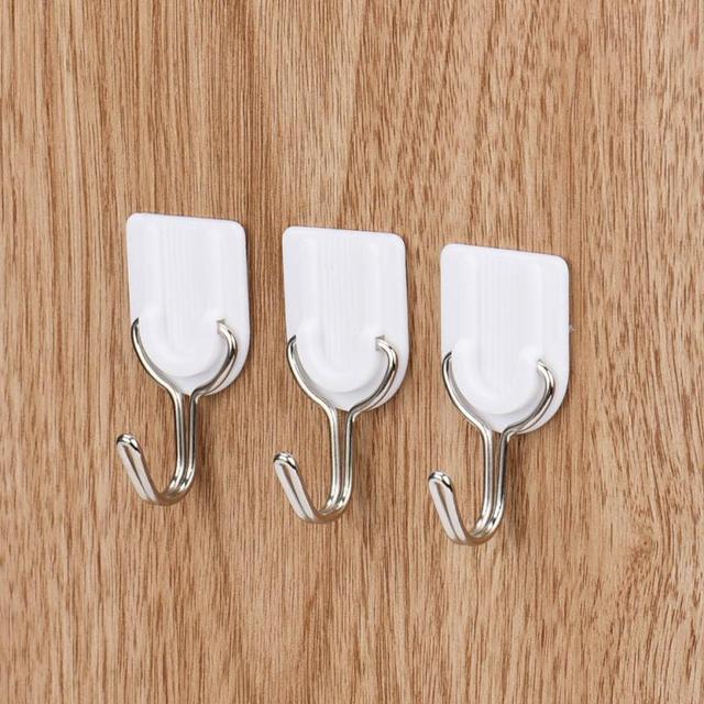 6 pz Forte Gancio Adesivo Da Parete Porta Sticky Holder Hanger Cucina Bagno Bian