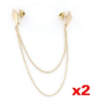 2Pcs Punk Brooch Collar Chain Necklace Collar Clip---Gold(China)