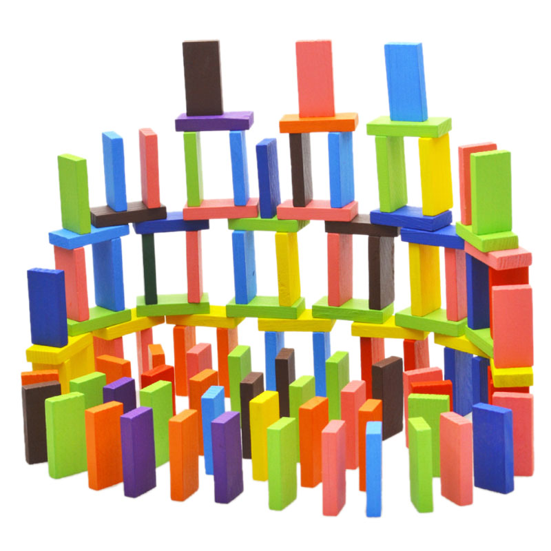 120Pcs/Set Mix 10 Colors Wooden Kids Children Domino Game Play Toys  Shop @Z70 big metal box domino 91 pcs pai gow toy game double 12 domino table game toys for children and adults board game