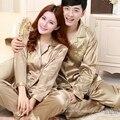 Lover Silk Pyjamas New Brand Couple Pajama Sets Fashion Home Apparel Nightwear Pajamas Spring Autumn Long Satin Pajamas Set