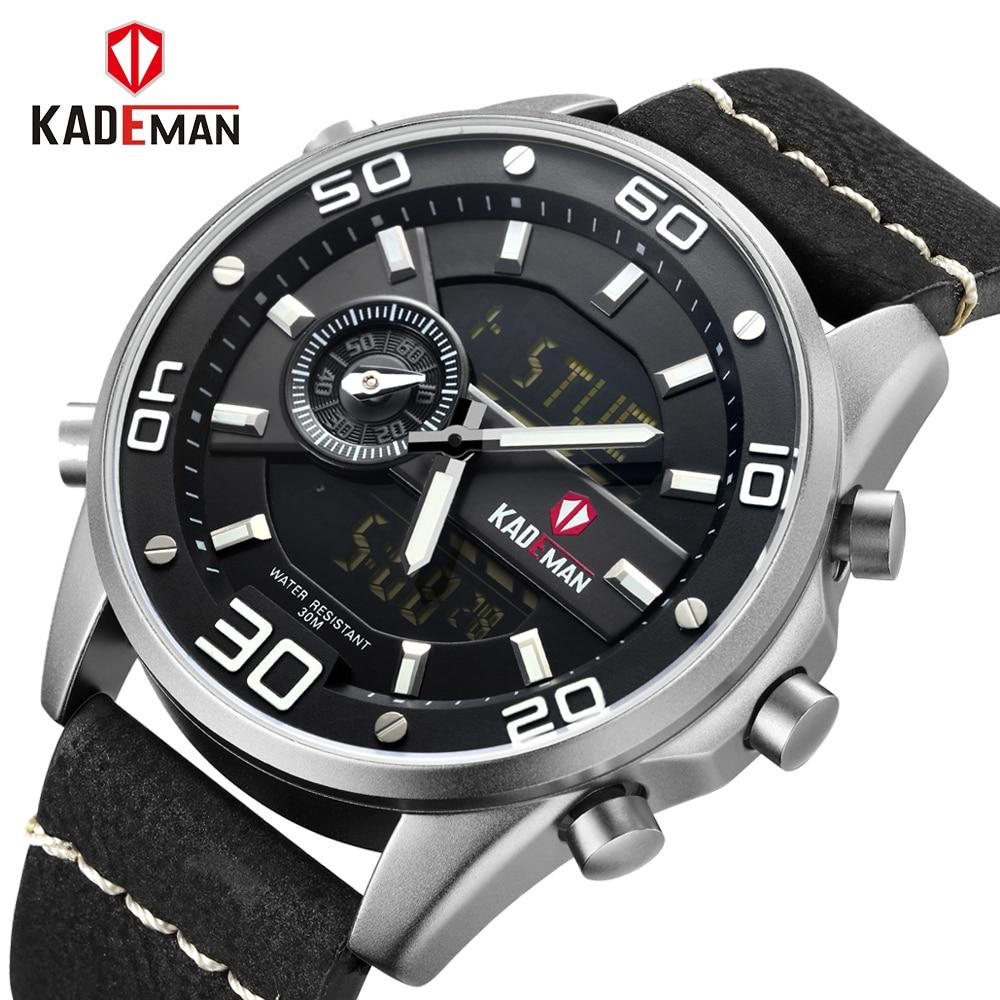 Men Watches Fashion Chronograph Male Top Brand Luxury Dual Display Watch Men Leather Waterproof Sport Watch Relogio Masculino