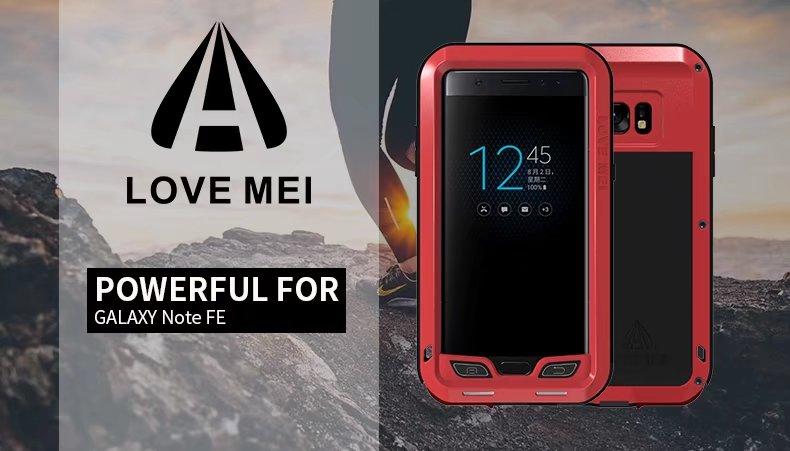 Love Mei étui pour samsung Galaxy Note FE 360 en aluminium résistant aux chocs et aux chocs étui de protection complet étanche