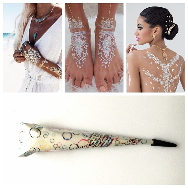 Indian Henna Tattoos Full Body: 1PC White Henna Mehndi Tattoo Paste Indian Waterproof