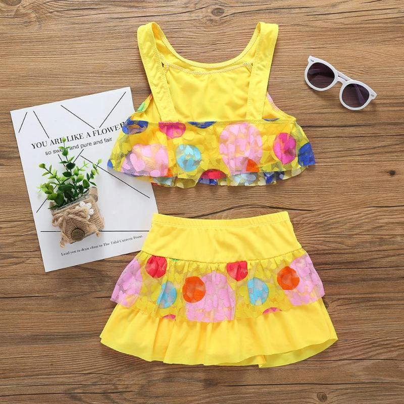 2-7T Hot Summer Children Kids Swimwear Girls 3D Swan Print One Pieces Swimsuit Flower Halter Beach Pool Swimwear Bathing Suit