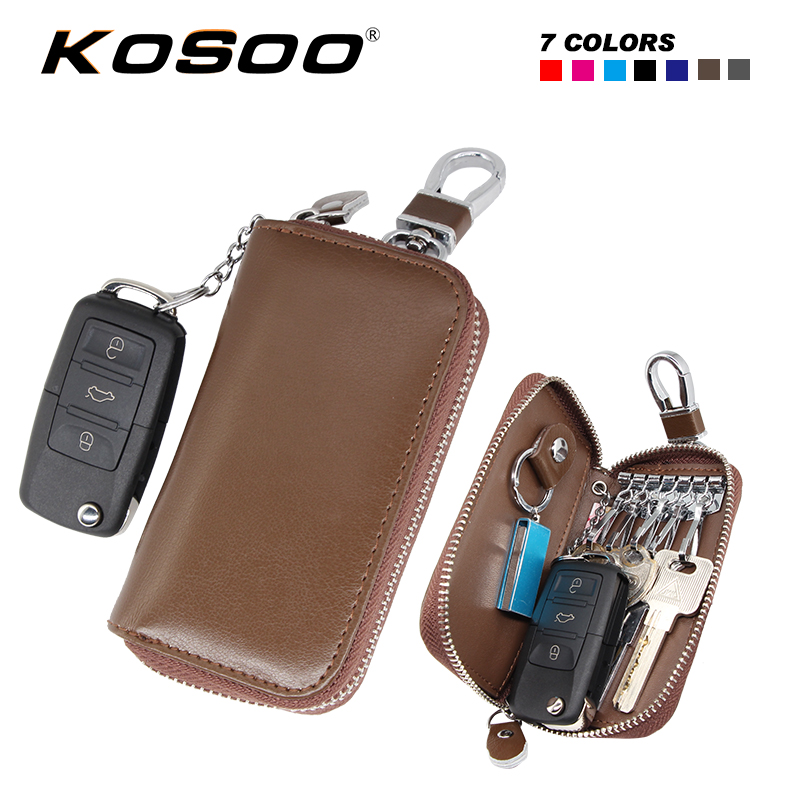 KOSOO Multifunctional Genuine Leather Unisex Zipper Car Key Wallets Key Purse Car Key Holders Buckle Key Case Bag 7 Colors