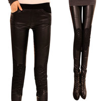 New Autumn Winter Woman Harlan Pants Capris Lace PU Leather Legging Trousers Pencil Basic Casual Stretch