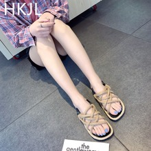 HKJL Thick-soled flax grass with retro Roman sandals ladies summer flat fish mouth hemp rope woven beach shoes A099