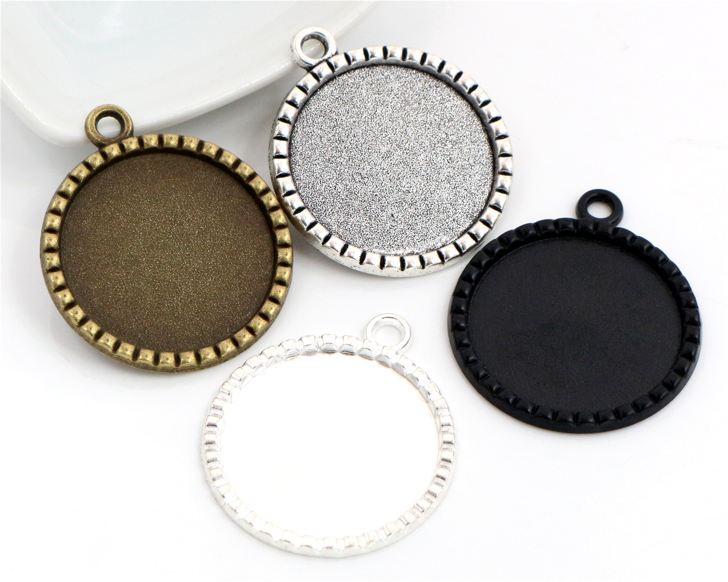 New Fashion 3pcs 25mm Inner Size 4 Colors Plated Fashion Style Cabochon Base Setting Charms Pendant
