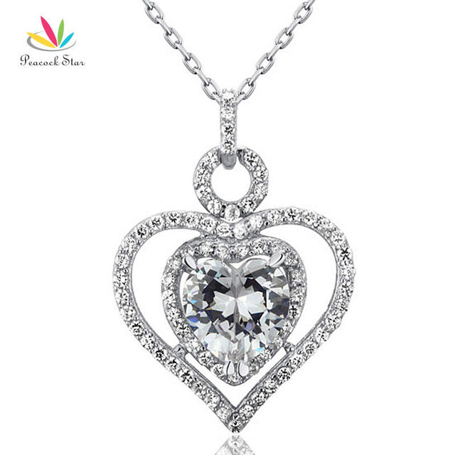 Peacock Star 3 Carat Simulated Diamond 925 Sterling Silver Heart Pendant Necklace Wedding Bridesmaid Jewelry CFN8010