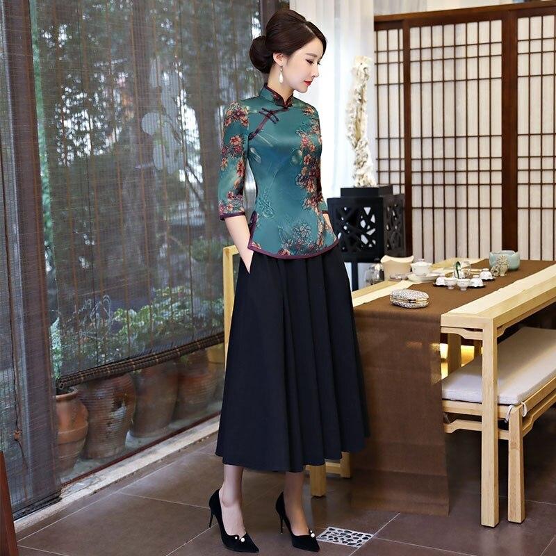 Mandarin 1803 S Chemise Soie Robe Blouse Chinois Qipao Vêtements D'été De xxxl Taille 9967 Bouton 5220 Définit Femmes Col 1803 1 2 Pc 2 Jupe Style Vintage CSUXzqwq
