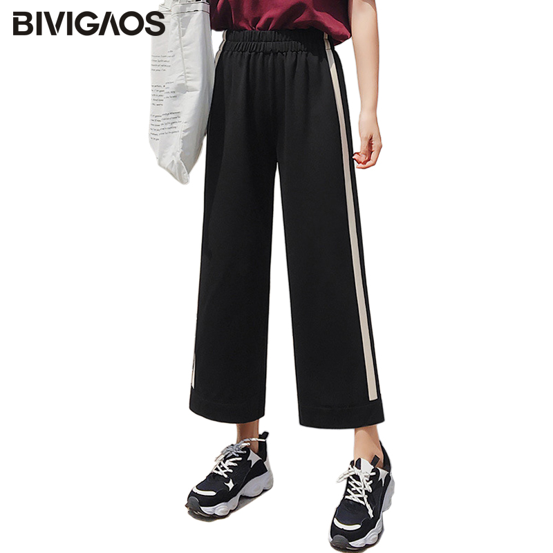 BIVIGAOS New White Striped   Wide     Leg     Pants   Office Ladies Suit High Waist   Pants   Students Casual Loose Cropped Trousers Women