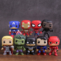 Marvel DC Super Heroes Captain America Iron Man Spiderman Black Panther Thor Hulk Batman Superman Flash PVC Figure Toys 9pcs/set