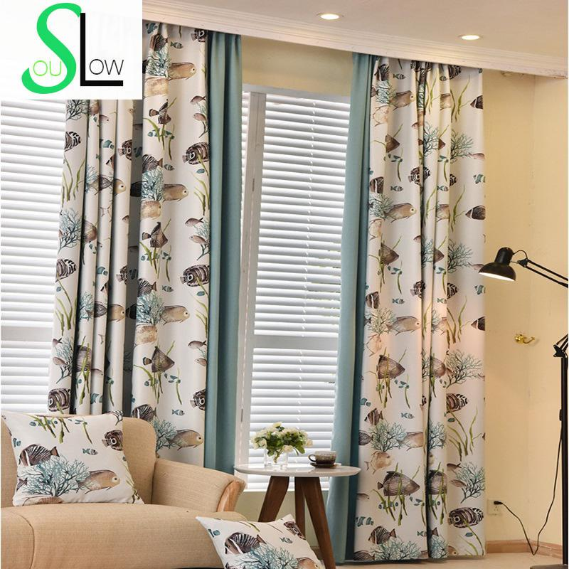 Modern Curtains For Living Room Cartoon Fish Printed Volie