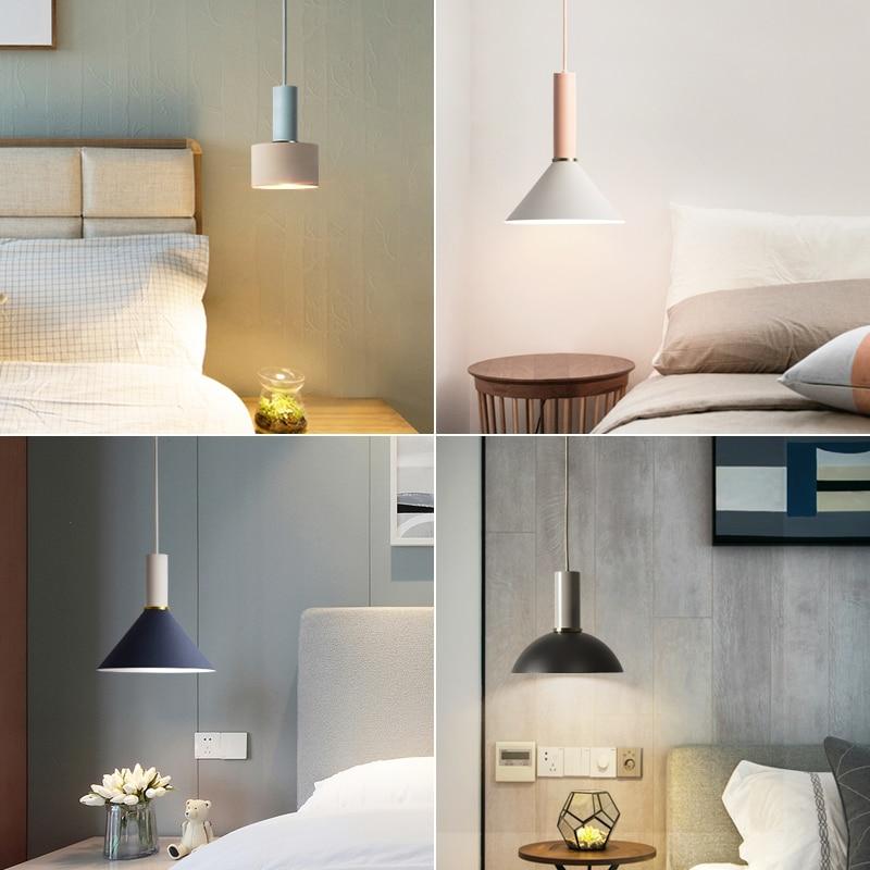 lowest price LukLoy Nordic Bedside Kitchen Island Pendant Light Modern Bedside Hanging Lamp LED Lighting Fixture Popular Suspension Lights