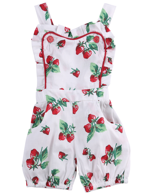 2c6f2771803 Princess Style Summer Toddler Girls Jumpsuits Rose strawberry Floral  Printed Baby Girl Ruffle Romper Infant Kids Overalls
