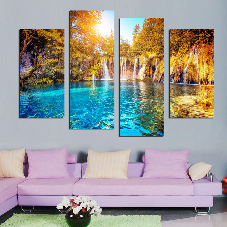 Waterfall Wall Art canvas 4 panel wall art waterfall painting canvas landscape