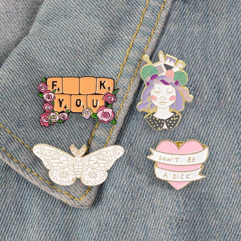 Merah Muda Cinta Bunga Enamel Pin Keyboard Jantung Pita Kerah Pin Bros Ngengat Hewan Lencana Tailor Gadis Perhiasan Wanita Hadiah