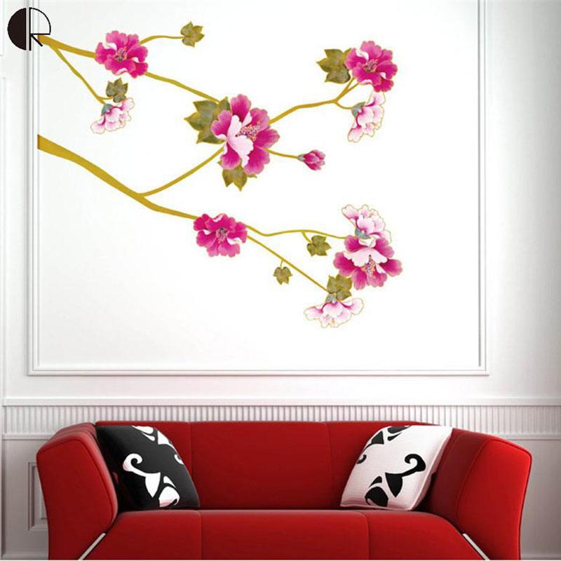 super caliente de la flor del hibisco casa vinilo decorativo de pared decoracin para el hogar