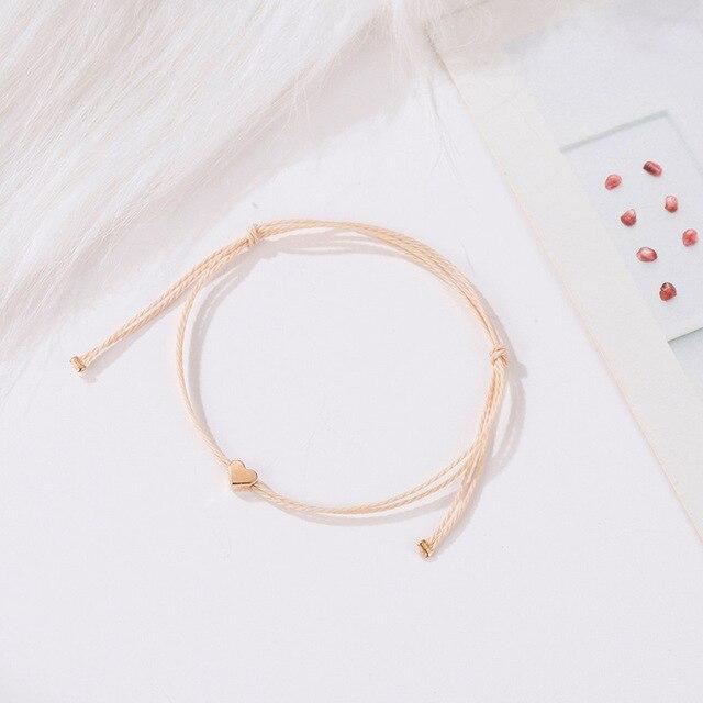 Крошечное простое любовное сердечко Веревка Цепь браслеты для
