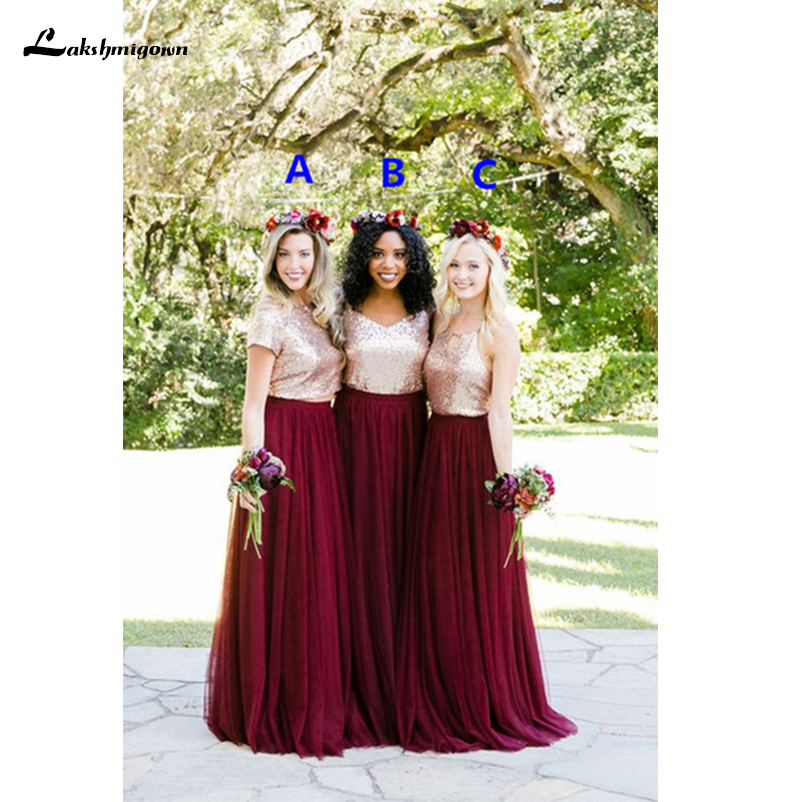 07ef7b465bc Two Tone Pieces Rose Gold Sequin Burgundy Bridesmaid Dresses 2018 Long  Junior Maid of Honor Wedding Party Guest Dress Cheap