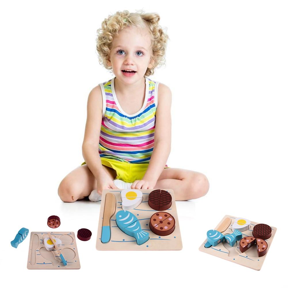 Kinder Spielzeug Holz Küche Spielzeug Gefälschte Fisch Schneiden ...