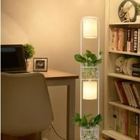 Modern Chinese Decoration Plant Flower Floor Lamp Fabric Lampshade Glass Study Stand Floor Light AC110V 220V